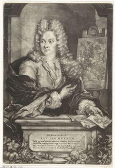 Arnoud van Halen   Portret van Jan van Huysum, Arnoud van Halen, 1702 - 1732   De bloemschilder Jan van Huysum staat in een nis naast een schilderij waarop een tuin met sculpturen, bloemen en planten. In de hand houdt hij een vel met een afbeelding van een bloem. Op de plint een lofdicht over de kwaliteit van het werk van Jan van Huysum.