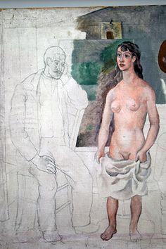Peintre et son modèle - Avignon - été 1914 - Huile et crayons sur torchon de cuisine Picasso, Paris, Crayons, Dishcloth, Kitchens, Montmartre Paris, Colouring Pencils, Paris France, Colored Pencils