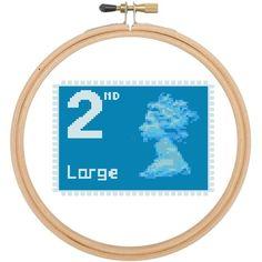 British stamp, Large 2nd Class, counted cross stitch pattern £2.40