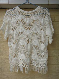 White Crochet Womens Fringe Jacket Boho por Tinacrochetstudio