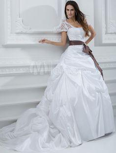 White Bow Lace Sash Taffeta Bridal Wedding Gown