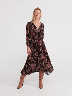 Dress in tropical print, Dresses, jumpsuits, brown, RESERVED Special Occasion Dresses, Your Design, Bohemian, Lady, Casual, Stuff To Buy, Collection, Jumpsuits, Retail
