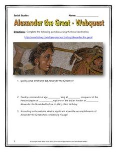This 6 page document contains a webquest and teachers key related to the basics of the life of Alexander the Great. It contains 11 questions from the history.com website.  Your students will learn about the impact of Alexander the Great in history and on modern leaders.