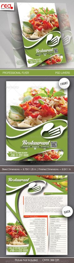 Restaurant Flyer & Menu Card Template by redshinestudio SPECIFICATION Flyer / Poster Template is by 11 in in by in with bleeds) and is ready for print, because its in CMY Restaurant Flyer, Restaurant Menu Design, Restaurant Recipes, Menu Card Template, Menu Templates, Print Templates, Web Design, Food Design, Menu Flyer