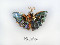 Vintage Abalone Shell Butterfly Brooch Pin  Vintage Insect