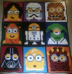 Star Wars Minions blanket made with Bobble Stitch. Free Graph on Craftsy.