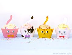 Printable kitty cupcake wrappers