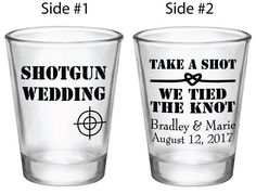 Customized Wedding Favors Shotgun Wedding Shot Glasses Custom Personalized Favor Ideas Shot Gun Elopement Take a shot We tied the knot by Factory21 on Etsy