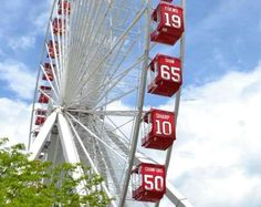 The Ferris Wheel at Chicago's Navy Pier showing Blackhawks pride! | 2015 Stanley Cup Final