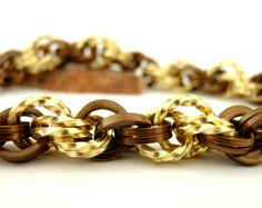 Chainmaille gold and bronze bracelet