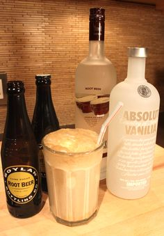 "YUM!!!  {adult root beer floats} 1 heaping scoop of blue bell homemade vanilla ice cream (blogger says, ""No other kind will work. Every Texan will agree with us on this point. OK, use whatever brand of vanilla ice cream you want…but they won't taste like ours.""), 1oz 3 olives root beer vodka, 1oz absolut vanilla vodka, pour root beer over the whole mess and insert straw."