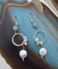 Once in a Blue Moon pearl and amazonite earrings