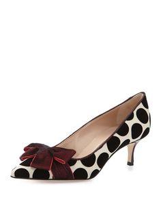 Gorina Velvet Polka-Dot Pump, Ruby by Manolo Blahnik at Neiman Marcus. Low Heel Shoes, Bow Shoes, Pumps Heels, Pretty Shoes, Beautiful Shoes, Cute Shoes, Polka Dot Pumps, Polka Dots, Manolo Blahnik Heels