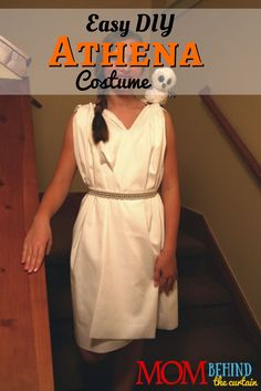 Athena Costume for girls, no-sew costume directions ~ ES Ivy Instructions for this super easy Athena costume - Greek Goddess costume - I made for my daughter to be Athena from the Percy Jackson series. No-sewing! Old Halloween Costumes, Easy Diy Costumes, Fun Halloween Crafts, Halloween Party Decor, Pirate Costumes, Turtle Costumes, Mermaid Costumes, Princess Costumes, Couple Halloween