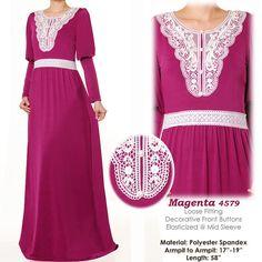 Neck Motif Lace Jersey Abaya Puff Sleeves Muslim by MissMode21, $34.00