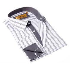 Brio Milano Men's White and Button-up Dress Shirt