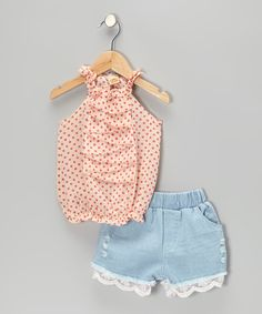 Take a look at this Pink Polka Dot Ruffle Top & Lace Denim Shorts - Toddler & Girls on zulily today!