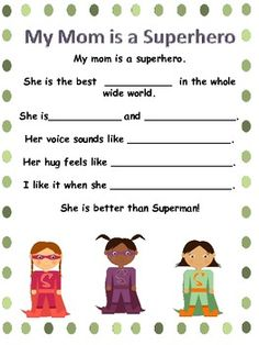 "Mother's Day Poem ""My Mom is a Superhero."""