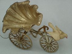 Dresden Ornament ... Dresden bicycle cart with shell seat,and bird ornament.   (the Larry Fraga Collection).