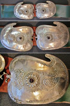 Leather belt with middle-sized 'toka' (woman's belt buckles).  From NW Anatolia (possibly Bursa), late-Ottoman, 1850-1900.  Silver plated copper; embossed decor in 19th century 'Turkish Baroque'-style.  (Inv.n° müç204 - Kavak Costume Collection - Antwerpen/Belgium).
