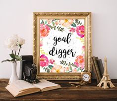 Goal digger print Cubicle decor Chic office by WordsAndConfetti