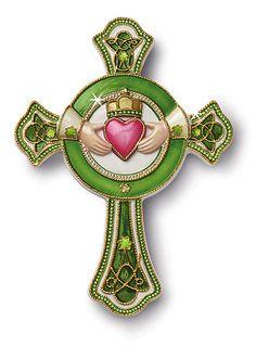 Cloisonné Celtic Claddagh Cross Porcelain cross with 2 4 karat gold plating.