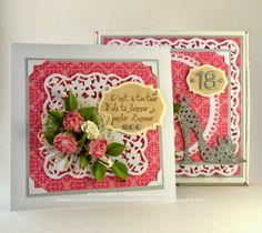 Un ensemble Boitatou et sa carte pour les 18 ans d'une jeune fille, une création de Kasimodo. Scrapbooking, Very Lovely, I Card, Birthday Cards, Creations, Stamp, Handmade Cards, Pretty, Flowers