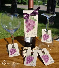 Seejanestamp.com wine and glass tags - create your own stencil with circle framelits or punches and sponge on the color.  Details in the post.