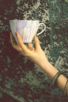 DIY watercolor teacup or mug. Easy and cute way to spice up a plain white mug.