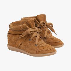 Baskets en cuir talons compensés - Compensées - Chaussures - Accessoires - Accueil