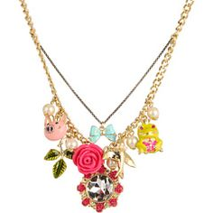 Betsey Johnson - Rose Garden Heart/Bird Charm Necklace