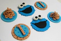 Fondant Cookie Monster Cupcake Toppers- Edible on Etsy, $36.00