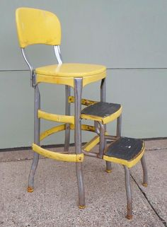 Superior Vintage, Cosco, Chair, Step Stool, Yellow, Mid Century, Shabby Chic