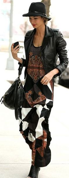 Bohemian multi print maxi paired with a leather jacket, felt wide brim & black booties. Edgy urban boho.: