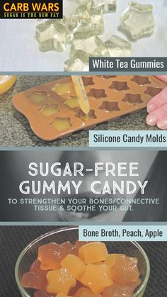 Only 5 minutes to make healthful bone broth or sugar free candy gummies that are good for your bones and connective tissue! Sugar Free Deserts, Sugar Free Fruits, Sugar Free Jam, Sugar Free Candy, Beef Gelatin, Gelatin Recipes, Healthy Sweets, Healthy Snacks, Gelatin Collagen
