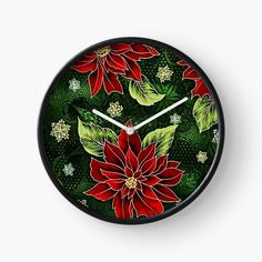 Green Christmas, Christmas Items, Floral Clock, Quartz Clock Mechanism, Wall Clocks, Holiday Outfits, Hand Coloring, Red Green, Colorful Backgrounds