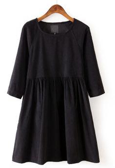 Black Long Sleeve Corduroy Pleated Dress - Sheinside.com