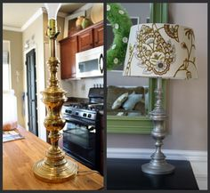 DIY spray paint an old brass lamp!!  Thrifty Decor Chick: It's a spray paint party!