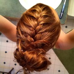 French braid into messy bun, homecoming 2013. Something like this, maybe a curled bun