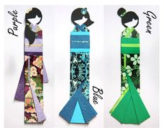 Japanese origami doll bookmarks in various colours. $4.00, via Etsy.