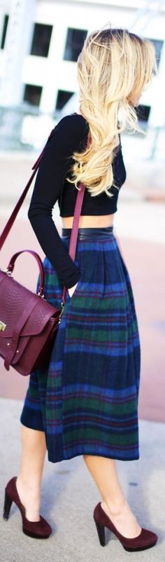 Spun by Happily Grey - Street style - blue tartan midi skirt, burgundy bag and black top - simple chic elegance