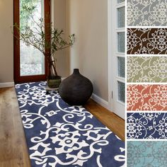 Hand-tufted Floral Contemporary Runner Rug for the foyer Lounge, Contemporary Rugs, Contemporary Hallway, Bedroom Carpet, Deco Design, Online Home Decor Stores, First Home, Home Decor Inspiration, Decor Ideas
