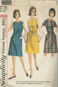 An original ca. 1965 Simplicity Pattern 6095.  A line dress or jumper with front zipper closing and patch pockets has optional front waistline darts and self fabric tie belt. Dress V. 1 with short set-in sleeves and V. 2 sleeveless dress or jumper feature jumbo or big zippers. V. 2 has braid trim. Sleeveless dress or jumper. V. 3 has regular zipper.