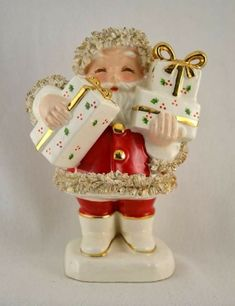 """Vtg """"Fine A Quality"""" Japan Ceramic Figurine Santa & Gifts Spaghetti Slaw Trim. Absolutely would love to add this to my collection! Christmas Deals, Christmas Past, Christmas Gifts For Women, Vintage Christmas Cards, Retro Christmas, Vintage Holiday, Christmas Angels, Christmas Holidays, Christmas Crafts"""