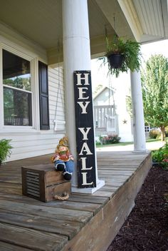 Hey y'all wood sign I porch sign I porch decor I welcome sign I hey y'all I porch decor I housewarming gift I welcome I door decor – 2019 - Pallet ideas Wooden Welcome Signs, Wooden Signs, Porch Welcome Sign, Diy Pallet Projects, Wood Projects, Pallet Ideas, Barnwood Ideas, House Projects, Front Porch Signs