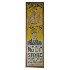 Hand-Painted Men's Clothing Sign, circa 1915 1