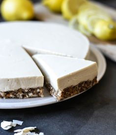 Yoghurt lemon mousse cake with a sweet and crunchy nut crust - A tasty love story