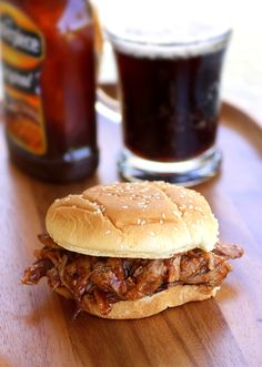 crockpot + rootbeer + pork = pulled pork! (this was dinner tonight! very simple to make!!)
