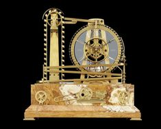 French Waterwheel Automaton Clock~ This French industrial timepiece is captivating in both its mechanical complexity and intricate artistry. The clock is constructed to resemble a waterwheel, paying homage to the industrial advancements that swept through Europe during the 19th century. Its bronze turning paddle wheel powers the three-wheel movement with the help of diminutive balls. ~M.S. Rau Industrial Clocks, French Industrial, Antique Clocks, Clocks For Sale, Quality Time, Paddle, French Antiques, Turning, 19th Century