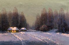 Wiktor Korecki: Zima olej, płótno, 62 × 92 cm sygn. l. d.: WIKTOR KORECKI